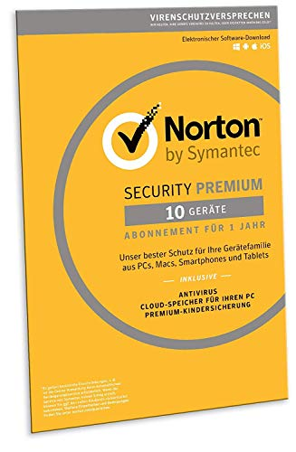 Norton Security Premium 2019 | 10 Geräte | 1 Jahr | PC/Mac/iOS/Android | Download
