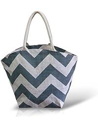 White & Grey Jute Handbag For Women