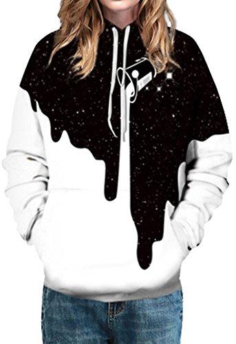EmilyLe Femme Sweats à Capuche Imprimé des Motifs Fantaisies Multicolore Galaxie à Manches Longues Unisex Hoodie Logo Graphique 154-Peinture
