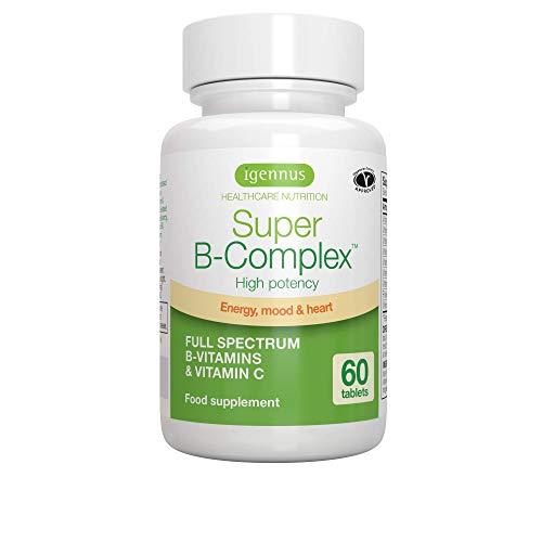 Super B-Complex - Complesso di vitamina B efficace, con 8 vitamine B altamente biodisponibili e vitamina C per l'energia, il supporto della funzione cerebrale e l'equilibrio dell'umore, 60 compresse