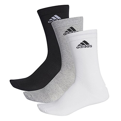 adidas Unisex Socken PER CREW T 3PP - Mehrfarbig (black/Medium grey heather/White) , 43-46 (Adidas Herren Socken Grau)