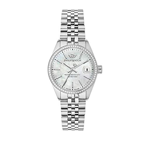 Philip Watch Orologio da donna, Collezione Caribe, con movimento al quarzo e funzione solo tempo con data, in acciaio e diamanti naturali - R8253597538