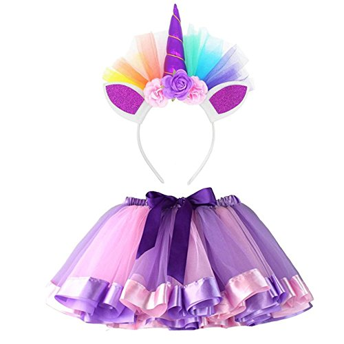happy event Kawaii Little Girls Layered Rainbow Tutu Faldas con Unicornio Cinta Morado Morado S
