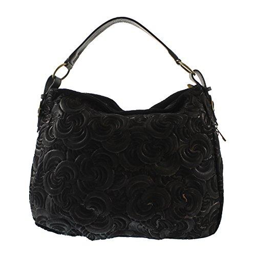 CTM Élégant sac à main de la femme, en cuir véritable en daim italien fabriqué en Italie avec des motifs géométriques 33x33x13 Cm