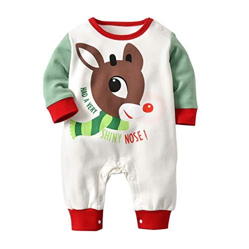 Gagacity Weihnachtskleidung Baby Strampler Unisex Neugeborene Overall Pyjamas Baumwolle für 0-24Monate