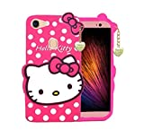 WOOZY® Girl's Back Cover Hello Kitty Silicon with Pendant for Oppo F7