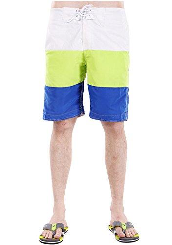 Faleto Casual Mode Herren Streifen Badeshorts Beachshorts Boardshorts Badehose Bermudashorts Kurze Hose Sommer Strand Shorts Weiß-grün-blau