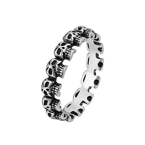 Luxuon BandringeSchädel Ringe für Frauen, Edelstahl Fester Schädel Band Art Ring Weinlese Art und Weisepunkskelett Fingerring für Retro Party Geschenk,7