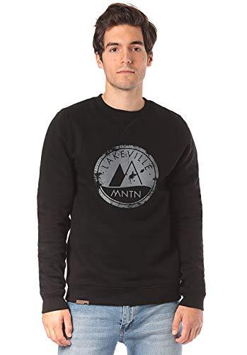 Lakeville Mountain Herren-Pullover Milo Logo, Sweat-Shirt mit Logo-Print, Männer-Pulli, Sweater, Langarm-Shirt, Long-Sleeve, Black Schwarz, Größe S