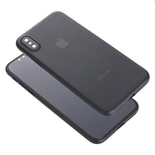 Unbekannt Für Apple iPhone superdünn Slim 0,3-0,4mm Semi Transperant Matt PP Schutz Hülle Back Cover Haut, for iPhone X, Black for iPhone X