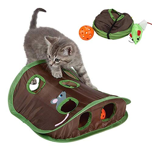 chivalrylist Katzenspielzeug Tunnel-Katzentunnel Katzenspielzeug Rascheltunnel Spieltunnel Mit 9 Höhlen