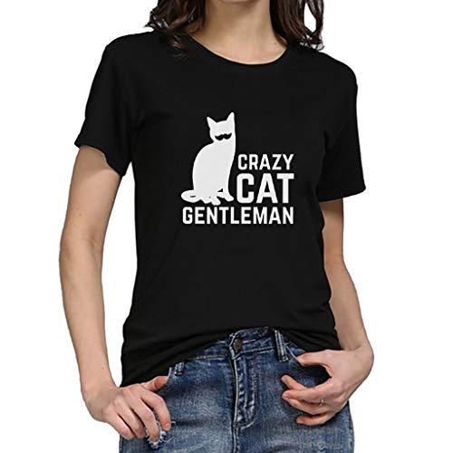 iYmitz Damen Mode Lose Oansatz Spitze Rundausschnitt Art- und Weise Frauen Kurzarm Herz T-Shirts Drucken Tops Bluse Shirts(F-Schwarz,EU-40/CN-L)
