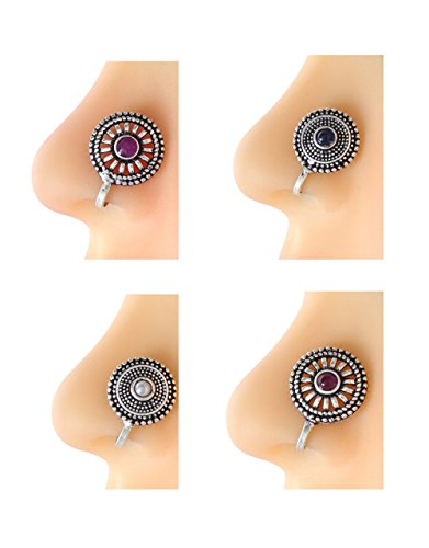 Anuradha Art Silver Oxidised Finish Styled With Round Shape Classy Designer Trendy Multi Colour Combo Press On Nose Ring/Clip On Nose Pin For Women/Girls