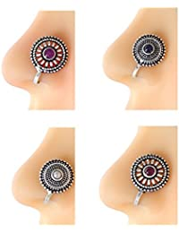 Anuradha Art Silver Oxidised Finish Styled With Round Shape Classy Designer Trendy Multi Colour Combo Press On...