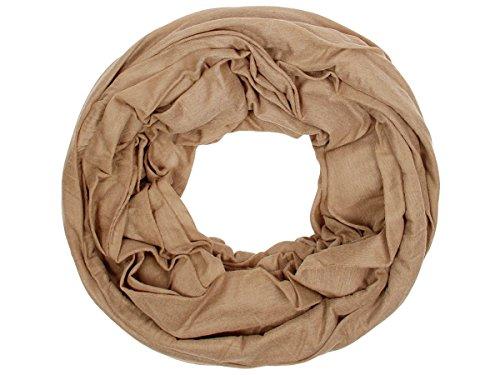 Sciarpa a tubo circolare in viscosa, foulard da donna leggero e morbido estate primavera autunno inverno loop anello ragazze colorati stola accessorio moderno lifestyle, SCH-920a-t:oliva SCH-920e