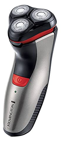 Remington PR1350 Power Series Aqua Plus Rotationsrasierer mit ComfortPivot-Scherkopf, Dual-Track-Schneidsystem, silber/rot