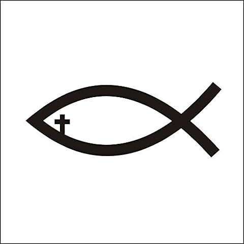 3137__B Autocollant pour la voiture Poissons de Jésus Croix chrétienne vinyle Decal Stickers Voiture Autocollant mur Fenêtre ( Black)