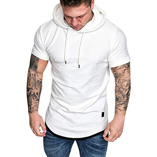 Celucke T-Shirt mit Kapuze Herren Biker Hoodie Sweatshirt Kapuzenshirt T Shirts Männer Slim Fit Kurzarm Stretch Basic Coole Tee Kurzarmshirt Mann Casual Muskelshirts Moderne Tops (Weiß,XXL) Stretch-sweatshirt