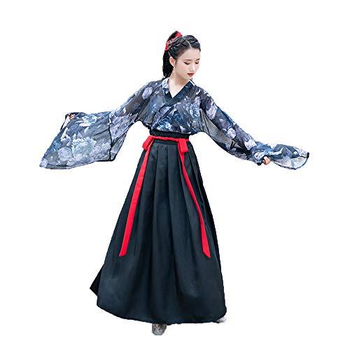 ische Kostüm der Frauen, Weinlese-Chinese-Kleidertangklage für Parteifeiertag, Fotoaufnahmekleidung Blumendrucken 3 Klagen,S ()