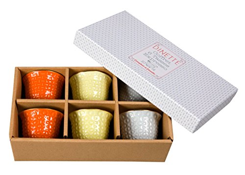 Comptoir de Famille 162670 Coffret 6 Tasses Expresso, Porcelaine, Orange/Jaune/Blanc, 7 cm