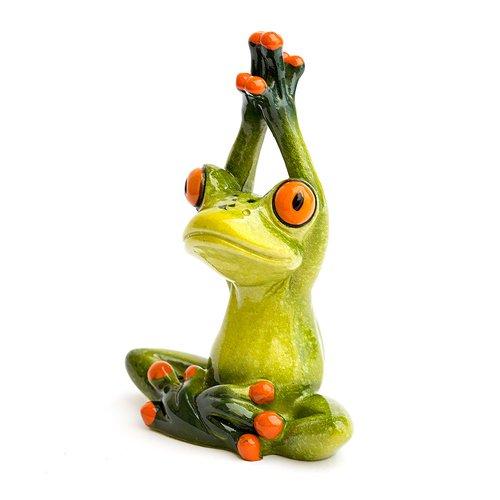 Deko Frosch Yoga, Dekofigur Frosch Arme nach Oben gestreckt, hellgrün, Höhe ca. 11cm