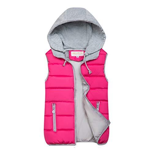 BOLANQ Plüschmantel Mantel, 10 Farben Mode Frauen Herbst Winter warme Mantel Weste wattierte Jacke(XX-Large,Hot pink)