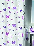 Spirella Fly - Cortina de ducha de tela (180 x 200 cm), color blanco con diseño de mariposas violetas
