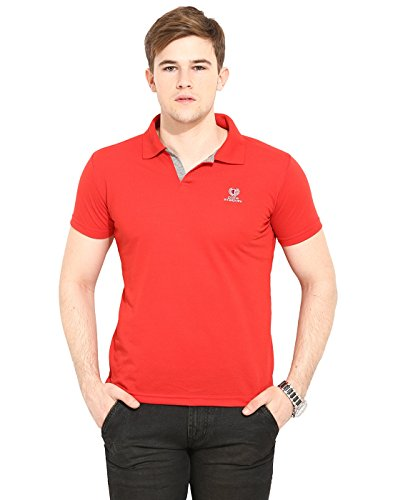 Duke Stardust Casual T-Shirt for Men Polo Collar Cotton Blend Material Half Sleeves Red color Smart Fit  available at amazon for Rs.277