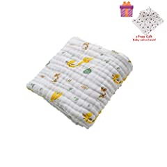 Idea Regalo - Asciugamani Baby Bath Towel, Morbuy 100% Mussola Cotone Bagnetto Toeletta Bambino Bavaglino Tovagliolo Fazzoletto Salviettine Infante Neonato (105x105cm, Giraffa)