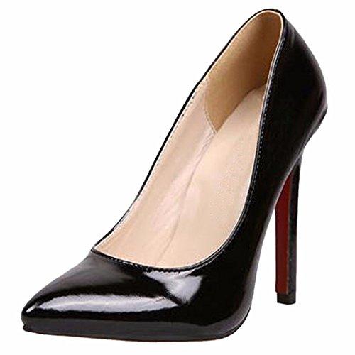 QIYUN.Z Ol Femmes Solide Haute Stiletto Mode Talon Orteil Pointu Chaussures De Pompe a Cocktail Noir
