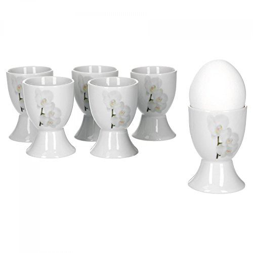 Corona Egg Cup 4.8/cm Set of 6/Porcelain White with Decoration