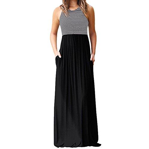 Subfamily® Frauen hohe Taille Elegante Kleider Bodenlanges Kleid rückenfrei Sexy Long Beach bunten Dress elegant Kleid Sommer und Herbst Kleid (S, Schwarz ()