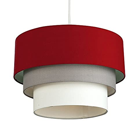 Beautiful Round Modern 3 Tier Red, Grey and White Fabric Ceiling Designer Pendant Lamp Light Shade