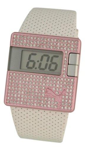 17793659c Puma Time - Reloj digital de cuarzo para mujer con correa de piel
