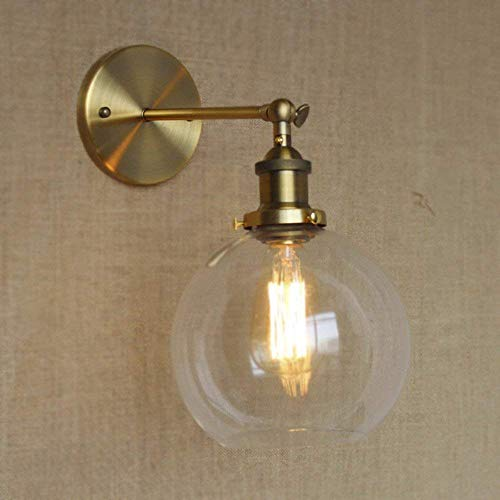 W-LI Wandleuchte Globe Shade Mini Wandleuchte Classic Vintage mit Klarglas-Gold -