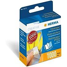 Herma 1071 Fotokleber im Kartonspender (17 x 12 mm) 1.000 Stück, weiߟ, doppelseitig, dauerhaft selbstklebend