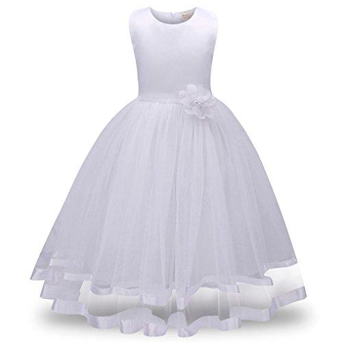 AMUSTER Maedchen Kleid Prinzessin Kleid Hochzeits Festzug Kleid Blumenmaedchenkleid Mädchen Kostüm Blume Hochzeit Bankett Party Kleid Tüll Kleid (130, Weiß)