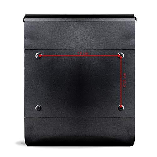 BANJADO Design Briefkasten schwarz | 38x47x13cm groß mit Zeitungsfach | Stahl pulverbeschichtet | Wandbriefkasten mit Motiv Video Kassette | mit silbernem Standfuß - 6