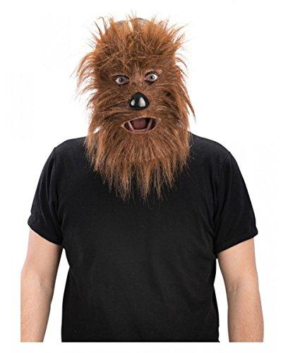 aske Werwolf mit braunem Kunstfell für Halloween & Karneval - Halbmaske (Macht Das Werwolf-kostüm)