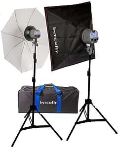 Interfit INT119 Kits d'accessoires 2 Têtes + 2 pieds + 1 boîte à lumière 60 x 60 cm + 1 parapluie translucide + 1 sac