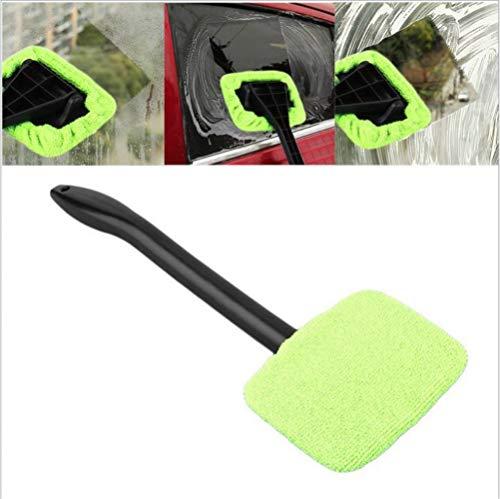 KJLM Fensterputzer Pinsel Kit Mikrofasertuch Auto Fenster Windschutzscheibe Wonder Reinigung Wash Tool Flüssigkeit im Inneren Auto Glaswischer mit abnehmbarem Griff, Packung mit 2 (Grün)