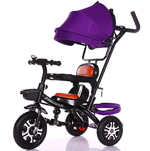 GHDE& Kinder Trike 3 in 1 Kinder Dreirad Mitfahrgelegenheit mit Eltern Lenker Überdachung Farbauswahl Tragfähigkeit 30kg XG4786,B