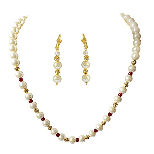 Surat Diamonds Single Line White Shell Pearl, Red Colour Stone & Stone Ring Necklace Earring Set (PS473)  available at amazon for Rs.175