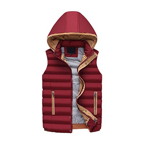 Deylaying Classique pour des Hommes Encapuchonné Coton Doudoune Gilet Zip Pardessus Confortable Épais des Sports