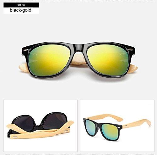 Aprigy Retro-Klassiker Bambus-Sonnenbrille-M?nner Holz Brillen Frauen-Marken-Design Sport Unisex Stil Sonnenbrillen Rivet Weibliche Shades Lunette [Schwarzes Gold]