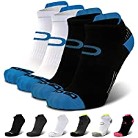 Compression Running Socks for Men & Women - Low Cut Athletic Ankle Socks (2 Pairs) S / M (Men's 5-9 / Women's 5.5-8.5) Blue