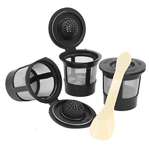 3 Stück wiederverwendbare Kaffeepad-Filter, Netzhalter, nachfüllbare Kaffeekapseln mit Löffel für Keurig K-Cup