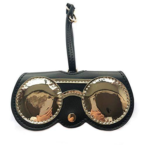 OOFAY Damen Sonnenbrillen Fall, niedliche Leder Brillen Tasche Faltbrille Clip Tragbare Verpackung Anhänger Schlüsselanhänger Charm Dekoration Anhänger Geschenk Zubehör,F