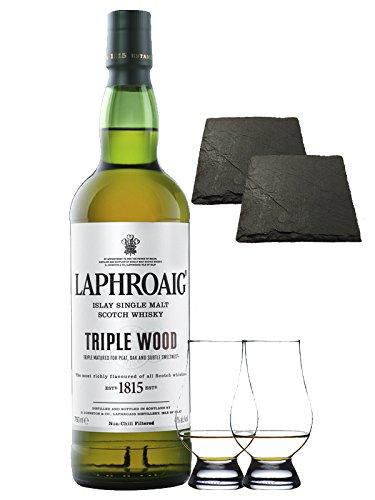 Laphroaig Triple Wood Islay Single Malt Whisky 0,7 Liter + 2 Glencairn Gläser + 2 Schieferuntersetzer quadratisch 9,5 cm