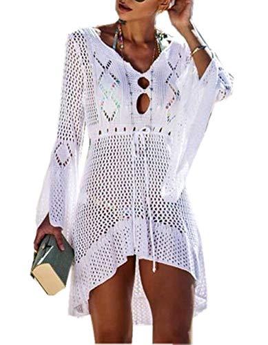 ZIYYOOHY Elegant Crochet Stricken Bikini Cover Up Boho Strandponcho Strandkleid (One Size, Weiß)